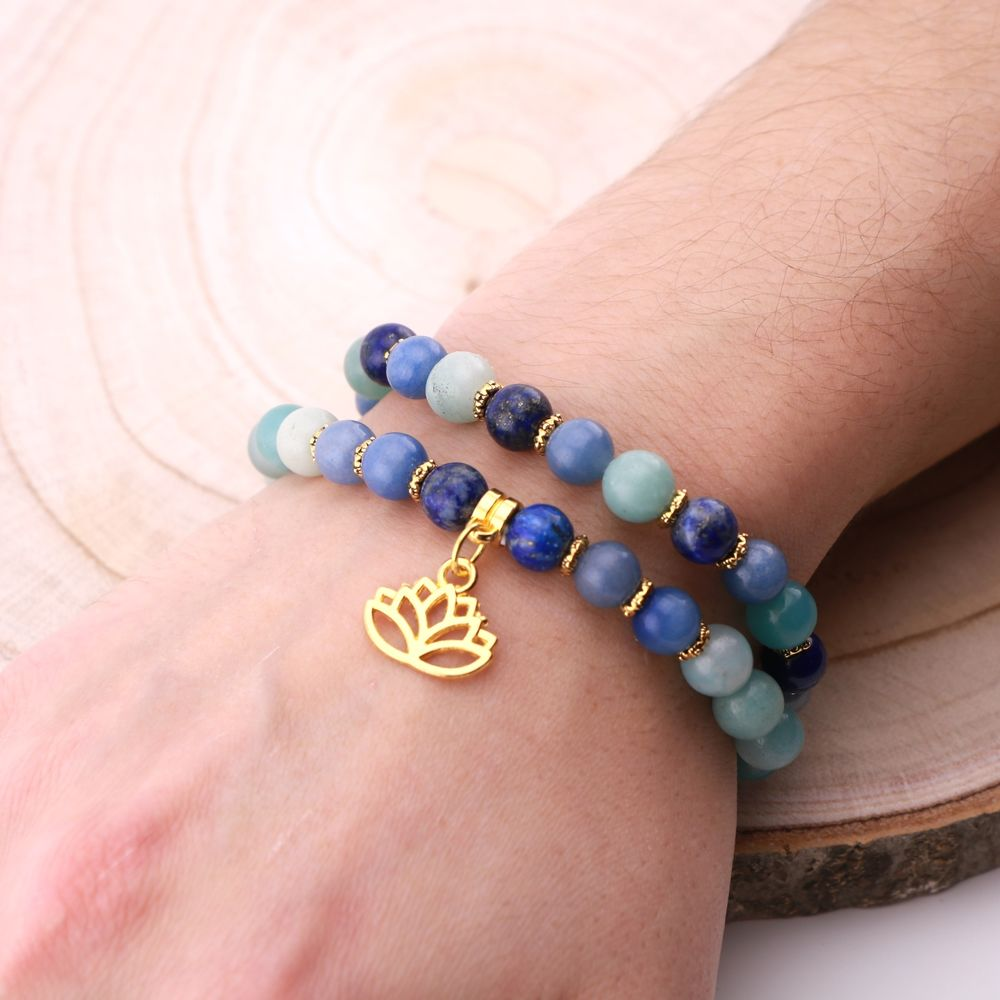 "Image product Bracelet Duo ""Communication et Intuition"" - Lapis Lazuli, Amazonite et Aventurine 343494"